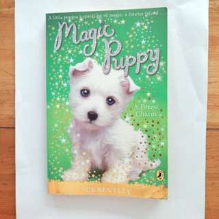 Puffin book. Magic Puppy A little puppy. A sparkling of magic, A forever friend.. A Forest Charm. Children's book.