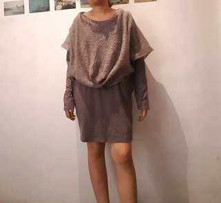 Gray dress with shawl detail