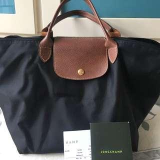 {100% real} Longchamp黑色短柄 (size L)