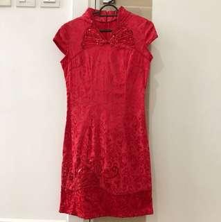 Red dress cheong sum