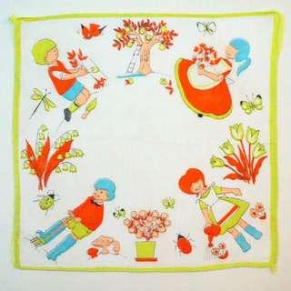 古董兒童花園手帕