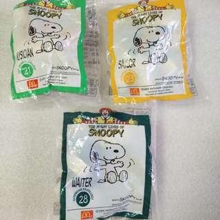 McDonald's 麥當勞 2001年 絕版  Snoopy 毛公仔 共3個