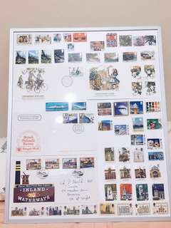 UK Great Britain Stamps and FDCs Framed