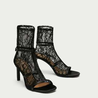 Zara - BNWT Lace high peep toe ankle boots sandals size 38