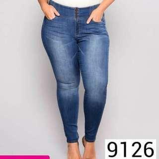 4 button pluz size denim skinny jeans