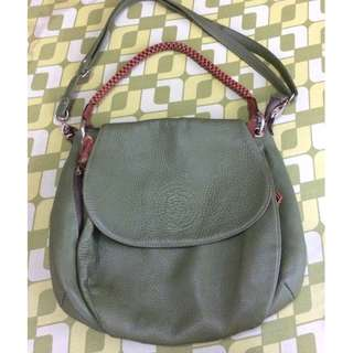 Genuine Leather Olive Green Classy Two Way Crossbody Shoulder Bag