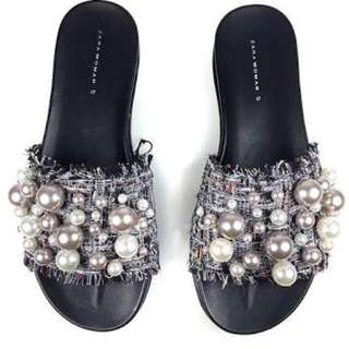 Zara - bnwt dior inspired slides with pearl size 39