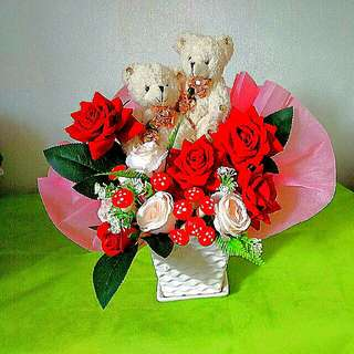Artificial Flower with Toy Bear Key Chain