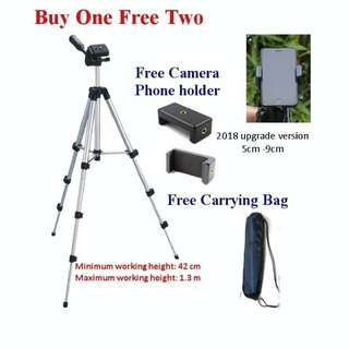 Camera Tripod / Phone Tripod ,free bag and phone holder 1.3m