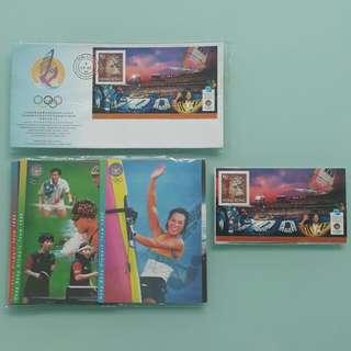 1996年香港奧運代表隊在百週年奧運會取得卓越成績紀念封、紀念咭及小全張一套official souvenir cover, card & stamp sheetlet set~the HK Olympic team in the centennial Olympic Games 1996