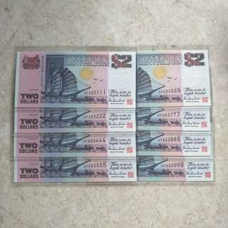 8 PCS SINGAPORE $2 SHIP PURPLE FANCY REPEATER S/N UNC
