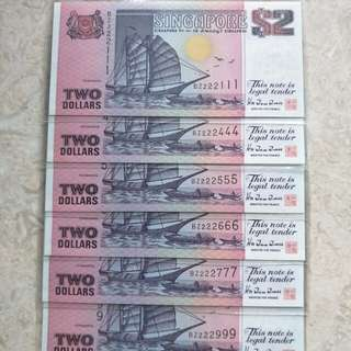 6 PCS SINGAPORE $2 SHIP PURPLE FANCY REPEATER S/N UNC