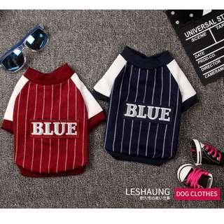 DP雜貨鋪 寵物衣服 歐美風條紋棒球服兩腳衣 貓狗衣服 馬爾濟斯/貴賓/博美/吉娃娃