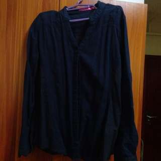 Preloved long sleeve(navy blue)button down