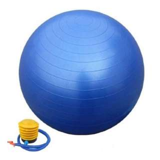 New! Anti-Burst Fitness Ball in Blue or Grey with foot pump