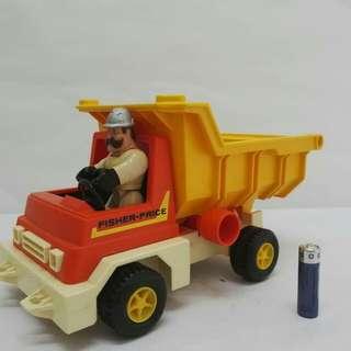 Vintage 1979 Fisher Price Husky Helpers Dump Truck