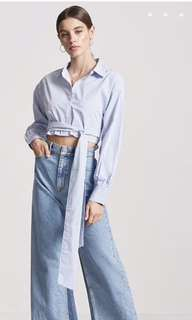 Cropped Tie Front Pinstripe Shirt