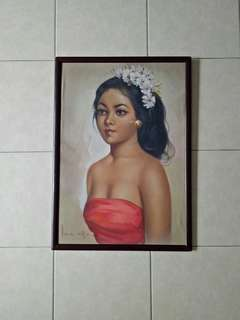 Vintage oil Painting on canva Bali lady with frame 61x40cm perfect