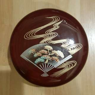 Japanese storage box - traditional fan with swirling patterns