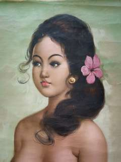 Vintage oil painting on canvas bali girl size 59x44cm perfect