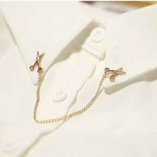 2016 Gold color chain Wedding Combs Scissors Brooch Dress Collar Pins Women Girls Scarf Clips Bijoux Piercing Men suits brooch