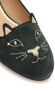 100% new and real Charlotte Olympia flats (dark green)