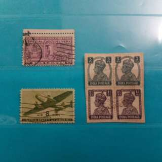 Set of USA and India stamps