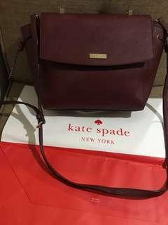 Original Kate spade Lilah Laurel Burgundy crosshatched leather