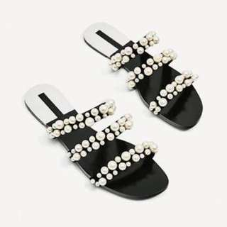 Zara - BNWT dior inspired pearl strappy sandals size 37