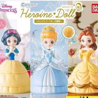 *現貨* 迪士尼公主 Bandai 扭蛋 Disney Princess Capchara Heroine Doll 3款一套 灰姑娘 貝兒 白雪公主