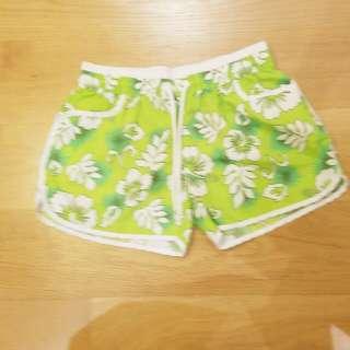 Lime Green Hawiian Beach Shorts