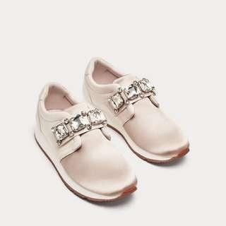 Zara - BNWT Bejewelled satin sneakers size 38