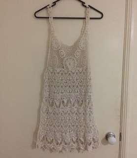 White Boho Lace Over Dress