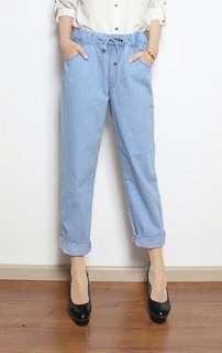 Brand new celana jeans karet biru muda