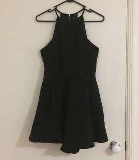 Black Playsuit w/ Floral Detail