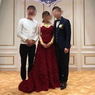 結婚 酒紅色 敬酒裙 小拖尾wedding dress