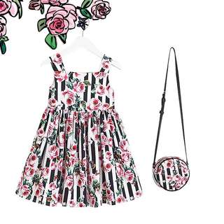 Girl stripe rose dress size 90-130