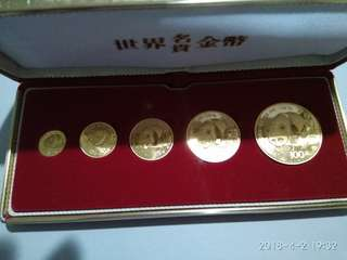 Panda gold coin set 1987