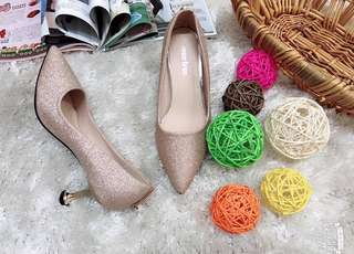 Glittered Pump Shoes with Ball Charm - Wedding Ball Formal