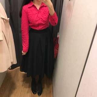 🚚 香港帶回 全新Esprit桃紅質感襯衫