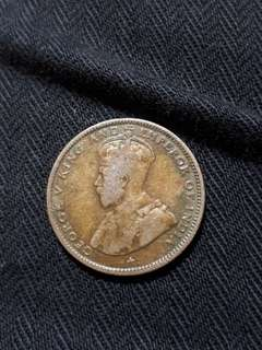 1919 Straits Settlements 20 Cents Silver Coin