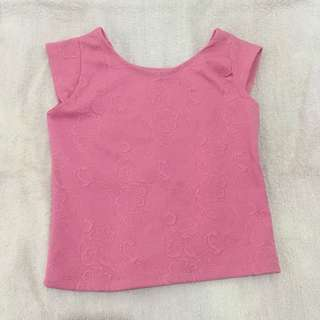 Pink Semi Cropped Top