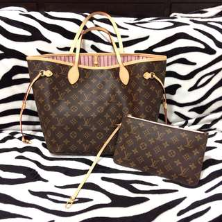Louis Vuitton Neverfull bag Monogram MM Rose Ballerine interior
