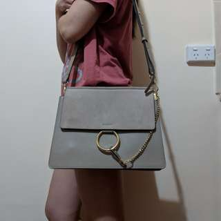 Chloe faye inspired leather bag in motly grey