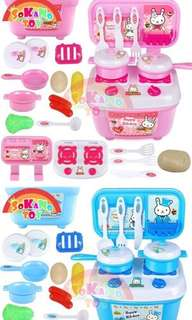SOKANO TOY Mini Rabbit Fun Kitchen Playset Kid Toy with Full Utensils Set- Blue/ pink