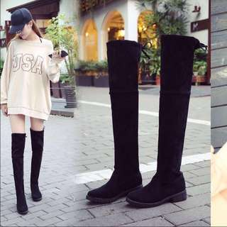 🔥[INSTOCK] Korean Ulzzang PU Leather Flat High Knee Thin Boots / Winter