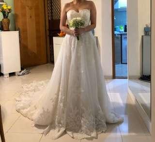 結婚 拖尾 婚紗 心型胸 顯廋 婚後物資 wedding dress pre-wedding