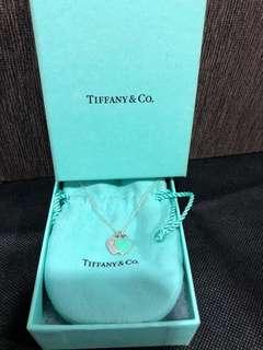 Authentic Tiffany & Co Necklace mini double heart tag pendant