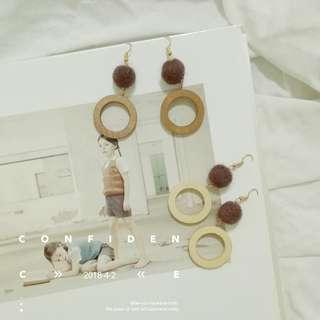 🚚 優雅木質耳環(可改夾式)#一百元好物
