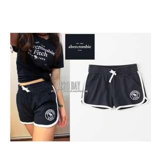 美國A&F專櫃帶回真品Abercrombie&Fitch girl logo pull-on shorts麋鹿短棉褲-深藍